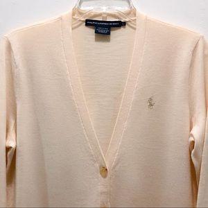 NEW Ralph Lauren Sport Cream Merino Wool Cardigan